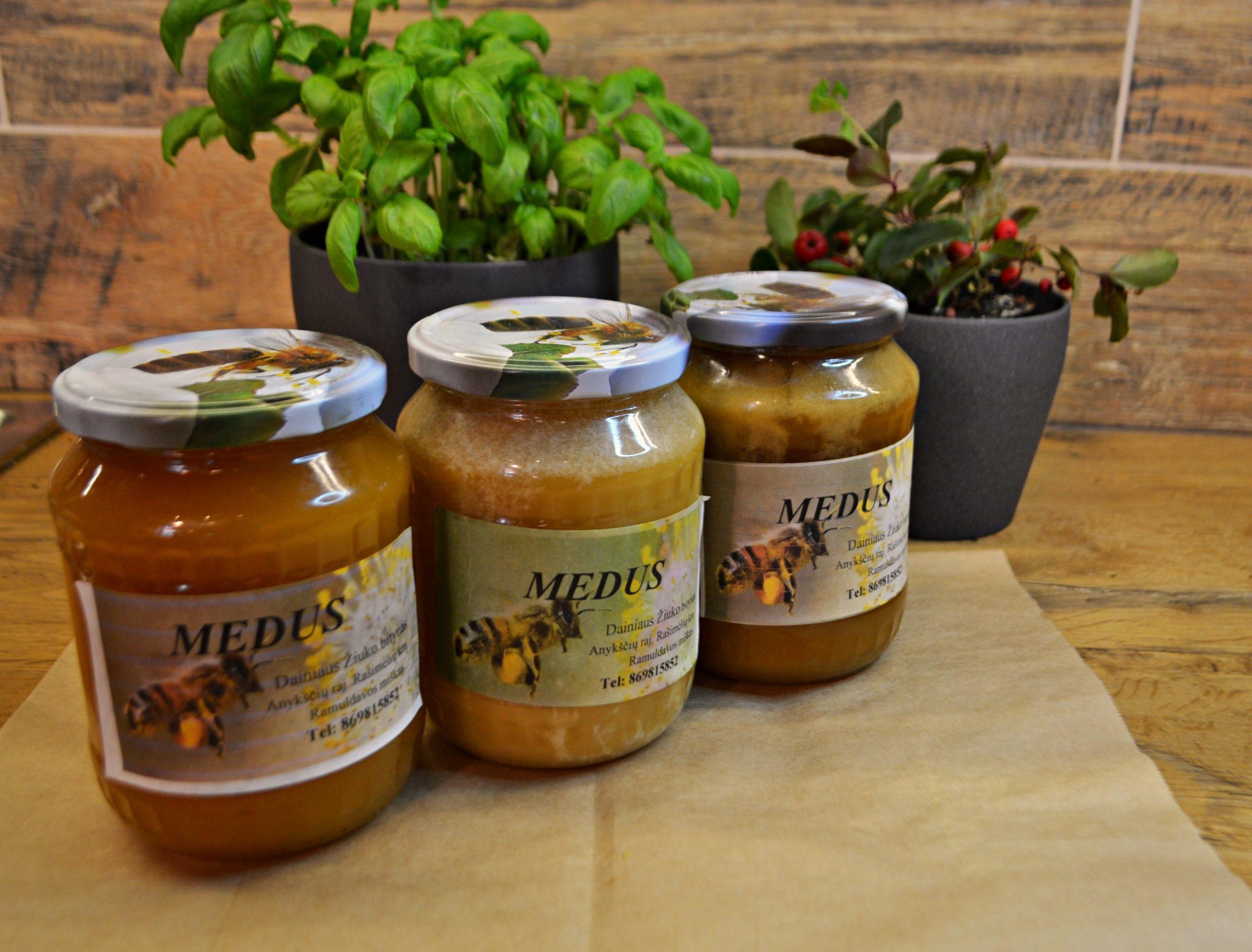 Šviežias pavasarinis medus 1 kg.